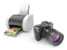 Εκτυπωτής με τη φωτογραφική μηχανή φωτογραφιών τρισδιάστατη. Τυπωμένη ύλη των φωτογραφιών Στοκ Εικόνες