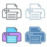 Εκτυπωτής με το διανυσματικό σύνολο εικονιδίων περιλήψεων εγγράφων εγγράφου Στοκ φωτογραφία με δικαίωμα ελεύθερης χρήσης