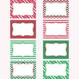 Εκτυπώσιμες ετικέτες Χριστουγέννων καθορισμένες Ετικέττες, πλαίσιο φωτογραφιών Στοκ φωτογραφία με δικαίωμα ελεύθερης χρήσης