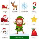 Εκτυπώσιμη κάρτα λάμψης για το σύνολο Χριστουγέννων και τη νεράιδα Χριστουγέννων διανυσματική απεικόνιση