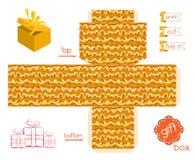 Εκτυπώσιμο κιβώτιο δώρων με το αφηρημένο κυματιστό σχέδιο Στοκ φωτογραφία με δικαίωμα ελεύθερης χρήσης