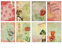 Εκτυπώσιμο φύλλο ετικεττών - ATC καρτών περιοδικών - ρομαντικές Floral ετικέττες κολάζ παπαρουνών - πλαίσια φωτογραφικών διαφανει ελεύθερη απεικόνιση δικαιώματος