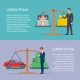 Εκτός από τα χρήματα για την ιδιοκτησία προτερημάτων αυτοκινήτων και σπιτιών από τον επιχειρηματία επίπεδο διανυσματική απεικόνιση