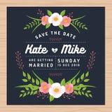 Εκτός από την ημερομηνία, κάρτα γαμήλιας πρόσκλησης με τα πρότυπα λουλουδιών Floral υπόβαθρο λουλουδιών απεικόνιση αποθεμάτων