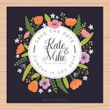 Εκτός από την ημερομηνία, κάρτα γαμήλιας πρόσκλησης με τα πρότυπα λουλουδιών Floral υπόβαθρο λουλουδιών ελεύθερη απεικόνιση δικαιώματος