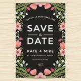 Εκτός από την ημερομηνία, πρότυπο καρτών γαμήλιας πρόσκλησης με συρμένο το χέρι εκλεκτής ποιότητας ύφος λουλουδιών στεφανιών Flor Στοκ εικόνες με δικαίωμα ελεύθερης χρήσης