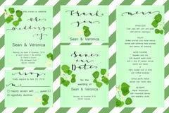 Εκτός από την κάρτα ημερομηνίας, η γαμήλια πρόσκληση, ευχετήρια κάρτα με τα όμορφα λουλούδια, πράσινα φύλλα και επιστολές Στοκ εικόνες με δικαίωμα ελεύθερης χρήσης