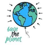Εκτός από την οικολογική αφίσα πλανητών Διανυσματική συρμένη χέρι γη απεικόνισης Στοκ Εικόνα