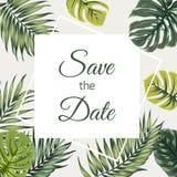 Εκτός από την τροπική πρασινάδα γαμήλιας πρόσκλησης ημερομηνίας απεικόνιση αποθεμάτων