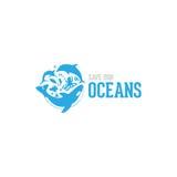 Εκτός από την ωκεάνια απεικόνιση λογότυπων σχεδίου ύφους μας Στοκ Εικόνες