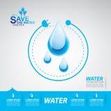 Εκτός από τη διανυσματική έννοια νερού σώστε τη ζωή απεικόνιση αποθεμάτων