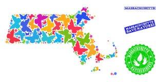 Εκτός από τη σύνθεση φύσης του χάρτη του κράτους της Μασαχουσέτης με τις πεταλούδες και τα κατασκευασμένα γραμματόσημα ελεύθερη απεικόνιση δικαιώματος