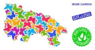 Εκτός από τη σύνθεση φύσης του χάρτη της Ισπανίας - Λα Rioja με τις πεταλούδες και τα γραμματόσημα Grunge απεικόνιση αποθεμάτων
