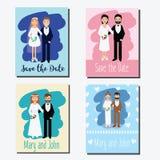 Εκτός από τις κάρτες ημερομηνίας, πρότυπα σχεδίου γαμήλιων προσκλήσεων με τα ευτυχή ζεύγη διανυσματική απεικόνιση