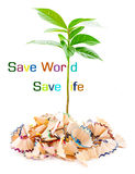 Εκτός από τον κόσμο σώστε την έννοια ζωής Στοκ εικόνα με δικαίωμα ελεύθερης χρήσης