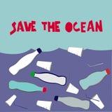 Εκτός από τον ωκεανό Απεικόνιση στο πλαστικό πρόβλημα ρύπανσης Συρμένα χέρι πλαστικά απόβλητα στο νερό και το χέρι-γραμμένο σύνθη απεικόνιση αποθεμάτων