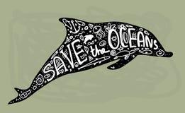 Εκτός από τον ωκεανό Φάλαινα, δελφίνι, θάλασσα, ωκεανός Μαύρο κείμενο, καλλιγραφία, που γράφει, doodle με το χέρι στο γκρι Έννοια διανυσματική απεικόνιση