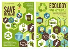 Εκτός από το έμβλημα πλανητών για το σχέδιο προστασίας οικολογίας Στοκ Εικόνες