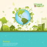 Εκτός από το διάνυσμα έννοιας παγκόσμιας οικολογίας απεικόνιση αποθεμάτων