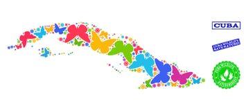 Εκτός από το κολάζ φύσης του χάρτη της Κούβας με τις πεταλούδες και τις σφραγίδες κινδύνου απεικόνιση αποθεμάτων