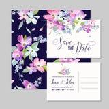 Εκτός από το πρότυπο γαμήλιας πρόσκλησης ημερομηνίας με τα λουλούδια Dogwood ανοίξεων Ρομαντική Floral ευχετήρια κάρτα για τον εο Στοκ Φωτογραφία