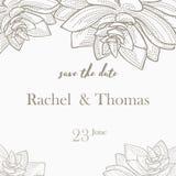 Εκτός από το πρότυπο καρτών γαμήλιας πρόσκλησης ημερομηνίας διακοσμήστε με συρμένο το χέρι λουλούδι στεφανιών στο εκλεκτής ποιότη ελεύθερη απεικόνιση δικαιώματος