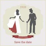 Εκτός από το πρότυπο καρτών ημερομηνίας με τη νύφη και το νεόνυμφο Διανυσματική απεικόνιση