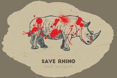 Εκτός από το ρινόκερο εκτός από την άγρια φύση Στοκ φωτογραφίες με δικαίωμα ελεύθερης χρήσης