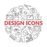 Εκτύπωση και γραφικά εικονίδια σχεδίου στις λεπτές περιλήψεις Στοκ εικόνες με δικαίωμα ελεύθερης χρήσης