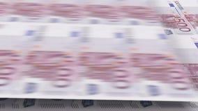 Εκτύπωση των τραπεζογραμματίων 500 ευρώ Περιτυλιγμένη τρισδιάστατη ζωτικότητα διανυσματική απεικόνιση