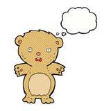 εκφοβισμένος teddy αντέχει τα κινούμενα σχέδια με τη σκεπτόμενη φυσαλίδα Στοκ Εικόνες