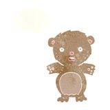 εκφοβισμένος teddy αντέχει τα κινούμενα σχέδια με τη σκεπτόμενη φυσαλίδα Στοκ Φωτογραφία