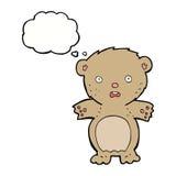 εκφοβισμένος teddy αντέχει τα κινούμενα σχέδια με τη σκεπτόμενη φυσαλίδα Στοκ Φωτογραφίες