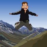 Εκφοβισμένο κινούμενα σχέδια άτομο που πηδά σε ένα υπόβαθρο των βουνών Στοκ εικόνες με δικαίωμα ελεύθερης χρήσης