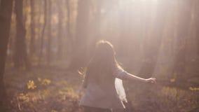 Εκφοβισμένο μικρό κορίτσι που τρέχει στο πυκνές δάσος και ξαφνικά τις στάσεις στη φωτεινή ηλιοφάνεια Τρομακτική ιστορία, κίνδυνος φιλμ μικρού μήκους
