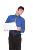Εκφράσεις - επιχειρηματίας που γυρίζει μακρυά από την οθόνη Στοκ φωτογραφίες με δικαίωμα ελεύθερης χρήσης