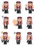 9 εκφράσεις του προσώπου και χειρονομίες του αραβικού επιχειρηματία διανυσματική απεικόνιση