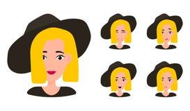 Εκφράσεις του προσώπου πορτρέτου γυναικών απεικόνιση αποθεμάτων