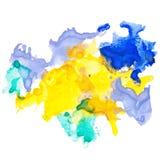 Εκφραστικός αφηρημένος λεκές watercolor με τους παφλασμούς και τις πτώσεις Στοκ φωτογραφία με δικαίωμα ελεύθερης χρήσης