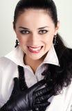 εκφραστικό γέλιο brunette Στοκ φωτογραφία με δικαίωμα ελεύθερης χρήσης