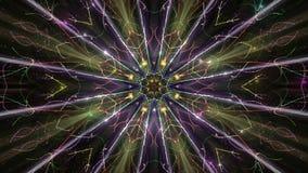 Εκφραστικό καμμένος kaleidoscopic σχέδιο στο σκοτεινό υπόβαθρο απόθεμα βίντεο
