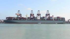 Εκφόρτωση πλοίων μεταφοράς τυποποιημένων εμπορευματοκιβωτίων απόθεμα βίντεο