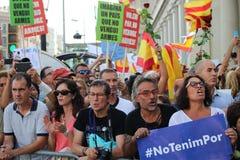 Εκδήλωση ενάντια στην τρομοκρατία στη Βαρκελώνη Στοκ εικόνα με δικαίωμα ελεύθερης χρήσης