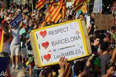 Εκδήλωση ενάντια στην τρομοκρατία στη Βαρκελώνη Στοκ Φωτογραφία