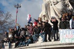 Εκδήλωση ενάντια στην τρομοκρατία στο Παρίσι Στοκ φωτογραφία με δικαίωμα ελεύθερης χρήσης
