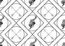 Εκλεκτής ποιότητας άνευ ραφής σχέδιο με τα hand-drawn φτερά και τα βέλη Στοκ Εικόνες