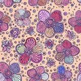 Εκλεκτής ποιότητας άνευ ραφής σχέδιο λουλουδιών χρωμάτων διανυσματικό Στοκ Εικόνες