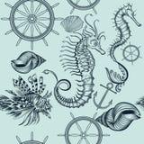 Εκλεκτής ποιότητας άνευ ραφής σχέδιο ταπετσαριών με τα ζώα θάλασσας Στοκ Εικόνα