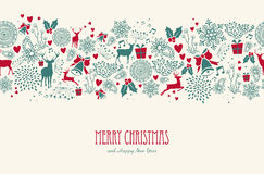 Εκλεκτής ποιότητας άνευ ραφής σχέδιο ταράνδων Χριστουγέννων backgr διανυσματική απεικόνιση