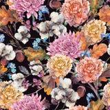 Εκλεκτής ποιότητας άνευ ραφής σχέδιο φθινοπώρου watercolor διανυσματική απεικόνιση